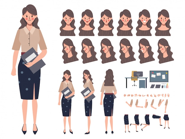 애니메이션 비즈니스 여자 또는 장관 캐릭터 생성. 애니메이션 준비. 사무실 일.