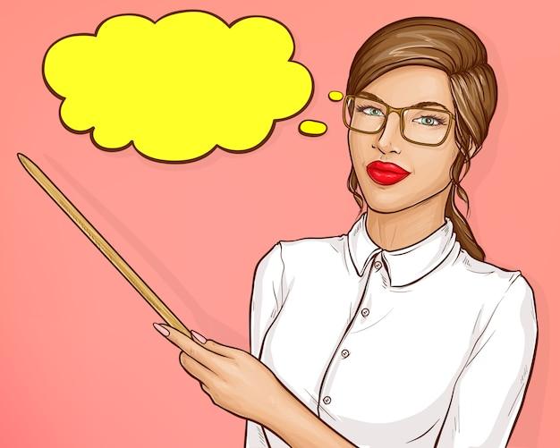 갈색 머리를 가진 비즈니스 여자 또는 교사