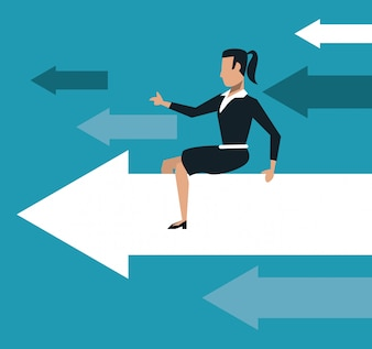 Business woman over progressive arrows