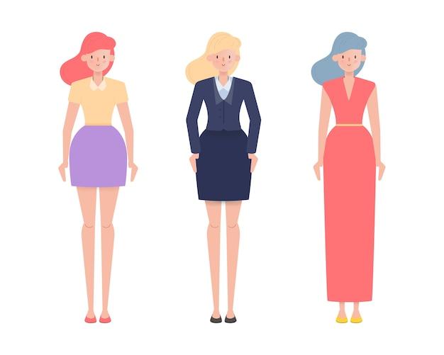 Business woman people cartoon flat design.