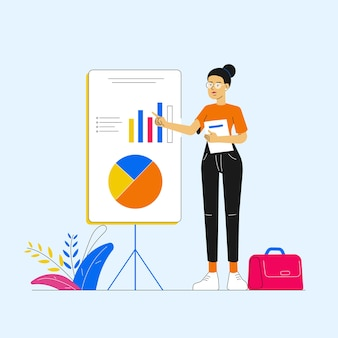 Деловая женщина указывая график и диаграмму на презентации