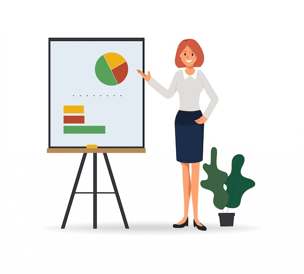 Business woman presenting to business chart on whiteboard