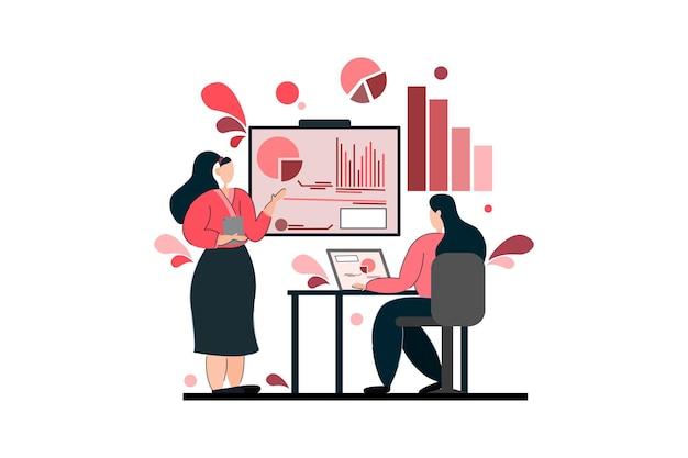 그녀의 친구에게 데이터와 차트를 제시하는 비즈니스 우먼