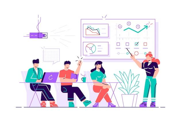 그녀의 파트너 및 동료에 게 새로운 프로젝트를 제시하는 비즈니스 우먼. 그녀는 그래프와 파이 차트를 보여주고 있습니다. 회의실에서 고객에게 프리젠 테이션을 제공하는 코치. 현대 일러스트입니다.