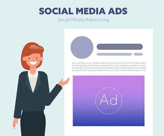 Business woman presenting social media application.