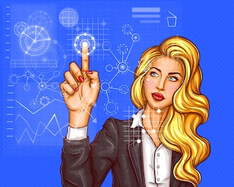 Business woman pressing on virtual holographic screen
