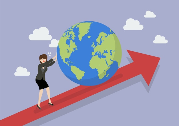 Business woman pushing the world on graph up