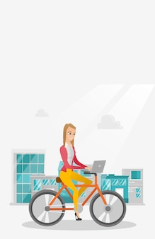 Business woman riding a bicycle with a laptop.