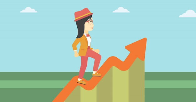 Business woman running along the growth graph