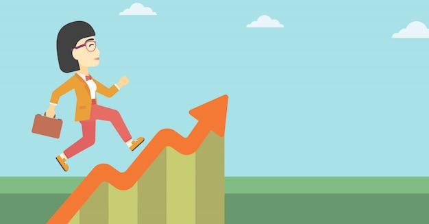 成長グラフに沿って走っている女性実業家。