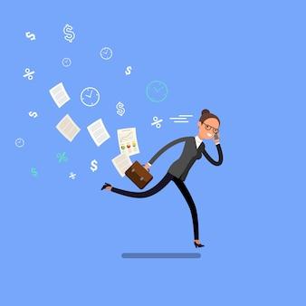 走って急いでいるビジネスウーマン。フラットなデザイン、ベクトル図