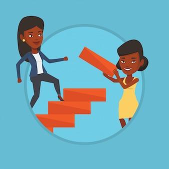 ビジネスウーマンはキャリアのはしごを駆け上がります。