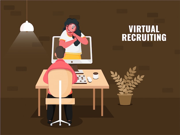 Business woman searching virtual recruiting in computer in front of man at workplace on brown background for maintaining social distance.