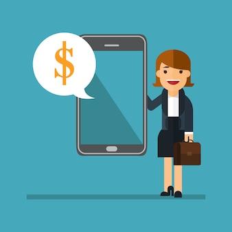 비즈니스 여자 쇼 전화 sms를 보내는