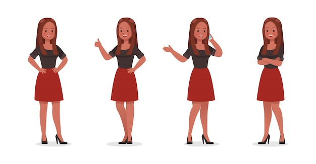 Business woman showing different gestures character set  .