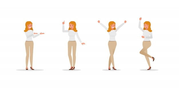 Business woman showing different gestures character set