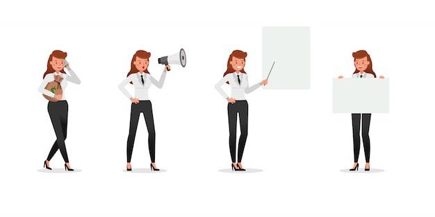 さまざまなジェスチャー文字を示すビジネス女性