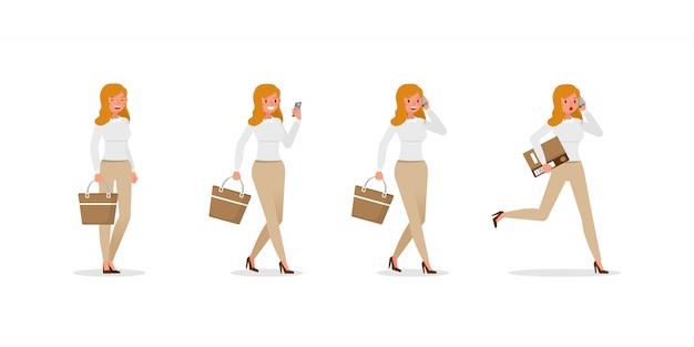 さまざまなジェスチャーセットを示すビジネス女性