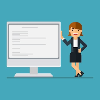 Business woman showing plan on computer screen