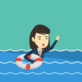 Business woman sinking and asking for help.
