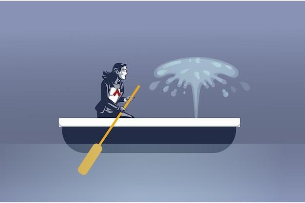 비즈니스 우먼 유출 된 카누 블루 칼라 개념에 앉아