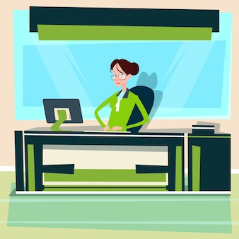 Business woman sitting desk