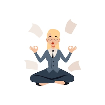 Business woman sitting in yoga lotus pose surrounded by papers cartoon style