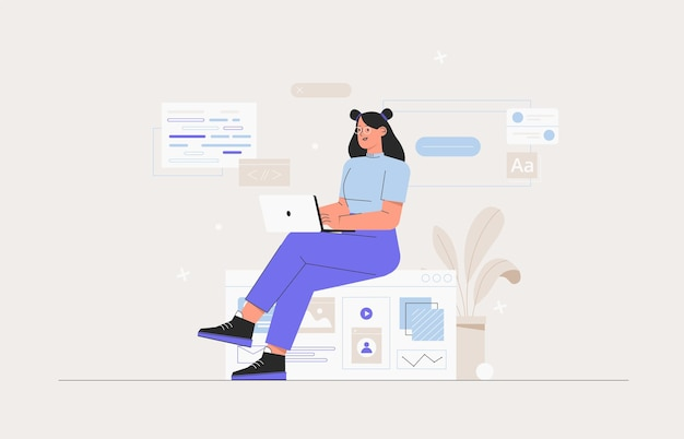 Business woman, smm manager, programmer, sit on infographic and work on laptop. freelancer working on web and application development on computers. software developers. flat style vector illustration.