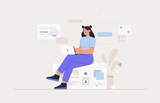 Деловая женщина, smm-менеджер, программист, сидит на инфографике и работает на ноутбуке. фрилансер, занимающийся веб-разработкой и разработкой приложений на компьютерах. разработчики программного обеспечения. плоский стиль векторные иллюстрации.