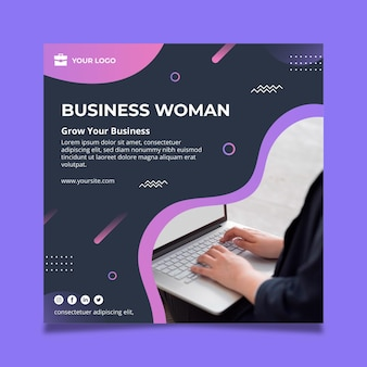 Business woman square flyer template