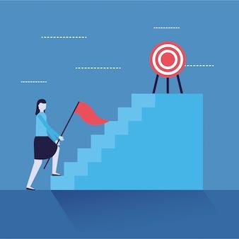 Bandiera ed obiettivo delle scale della donna di affari
