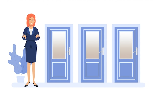 Business woman standing in front of the three doors. people choosing the way.
