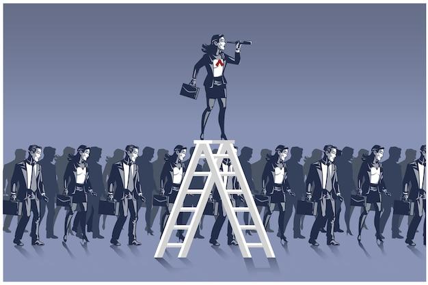 Деловая женщина, стоящая на лестнице, глядя вперед, с помощью концепции бинокля бизнес иллюстрации