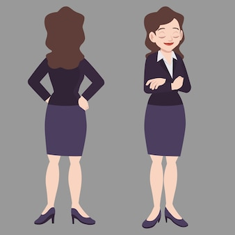 Business woman standing poses in suits front view and back view