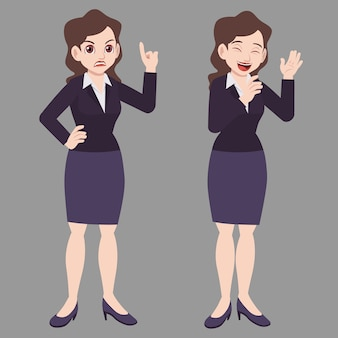 Business woman standing poses in suits with difference mood expression
