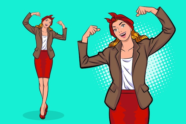 Business woman standing showing arms muscles smiling proud pop art comics style.