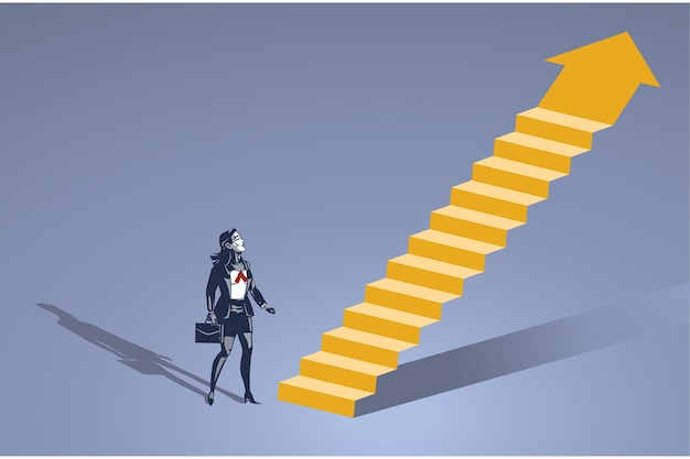 Business woman stands in front of imaginary ladder blue collar