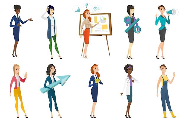Business woman, stewardess, doctor profession set