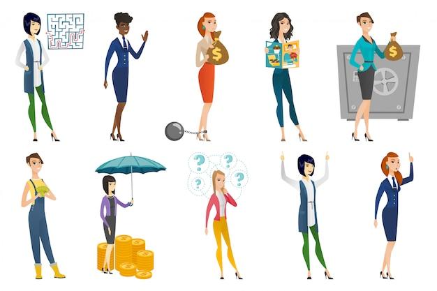 Business woman, stewardess, doctor profession set.