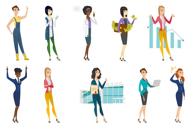 Business woman, stewardess, doctor profession set.