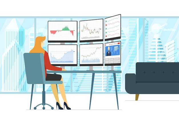Business woman stock market trader in workplace looking at multiple computer screens with financial charts, diagrams and graphs. business index analysis concept. female broker exchange trading