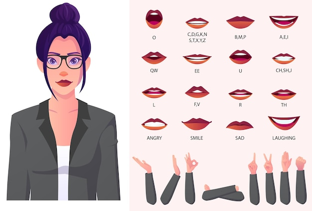 Business woman in a suit with bun hair character face animation and lip-sync for presentations