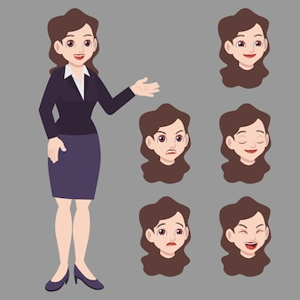 Business woman in suits with face expression set