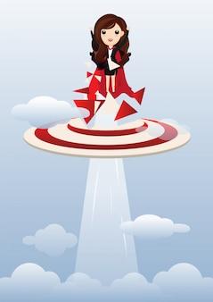 Business woman superhero flying.