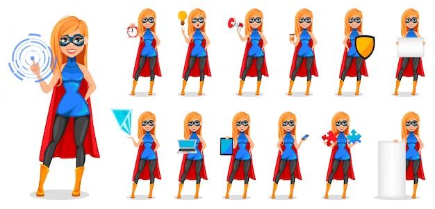 Деловая женщина супергерой, тринадцать поз Premium векторы
