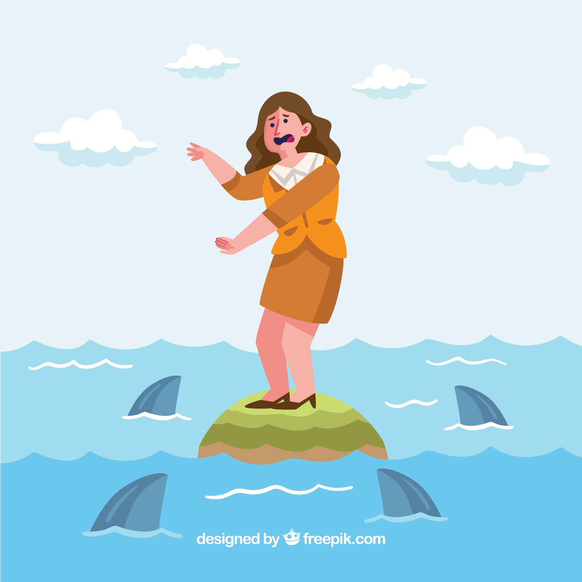 Business woman surrounded by sharks