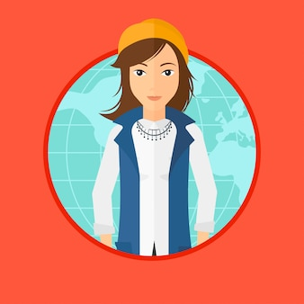 Business woman taking part in global business.