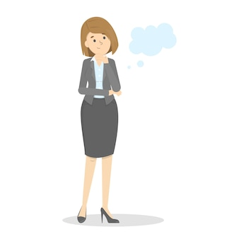 Business woman think about something. empty speech bubble