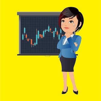 비즈니스 우먼 생각하고 주식 그래프 차트 분석