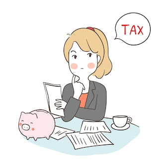 Business woman thinking saving money to pay tax